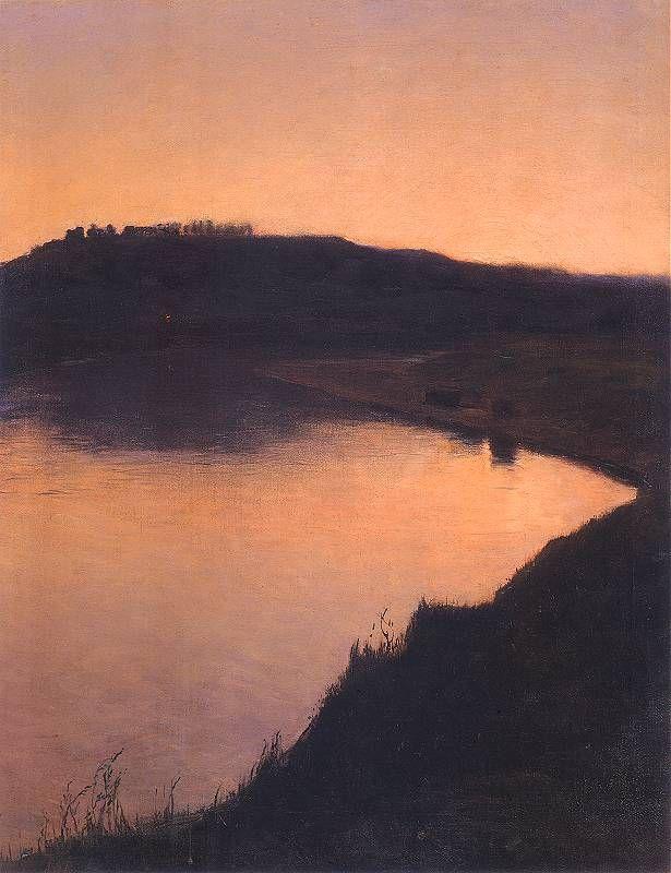Lake at sunset, Aleksander Gierymski Warszawa. Polish (1850 - 1901)  - Oil on Canvas -