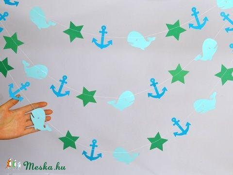 A tenger kapitánya girland születésnap keresztelő dekoráció dísz kellék babaszoba gyerekszoba fiú kisfiú bálna tengerész (kreativpercek) - Meska.hu