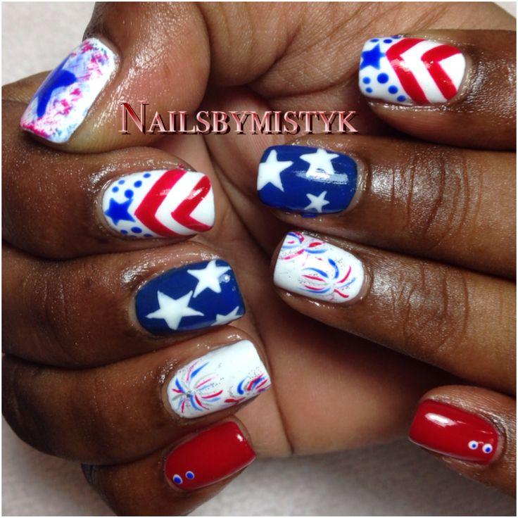 Nail art. 4th of July nails. Shellac nail art