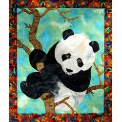 """""""Panda"""", applique quilting pattern from Original art quilt by Zewei Willa O'Connor. Each pattern package includes a full size pattern & an instruction sheet. See other pattern at: zeweioconnor.com"""