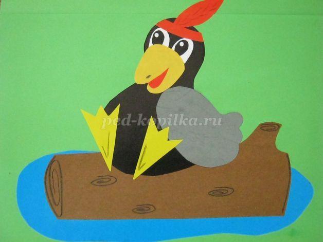 Аппликация из цветной бумаги Ворона своими руками для детей начальных классов…