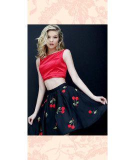 Gleeful Black And Red Silk Skirt.