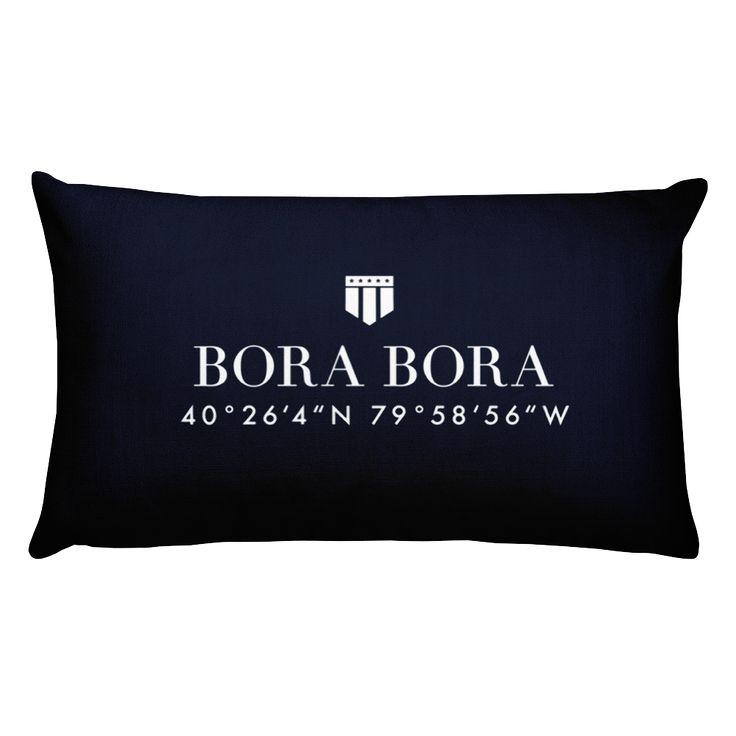 Bora Bora Pillow with Coordinates