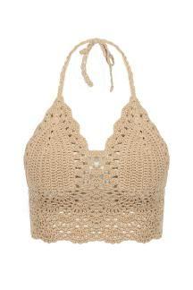 Beige Bralet Top With Crochet Trim - US$9.95
