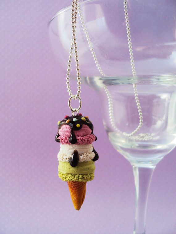 Food Jewelry. 3 Scooped Ice Cream Necklace Polymer Clay by MyMiniMunchies, $16.00 , ice cream necklace.Polymer clay charms.