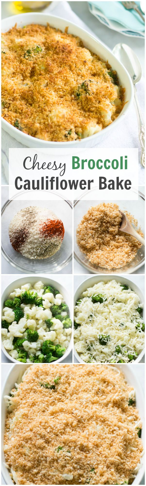 This Cheesy Broccoli-Cauliflower Bake is a delicious and healthy casserole dish that is loaded with veggies, cheesy and panko. It is creamy, golden and super yummy!