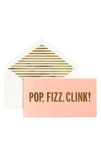 kate spade new york 'pop, fizz, clink!' holiday cards (set of 10) Pink NONE
