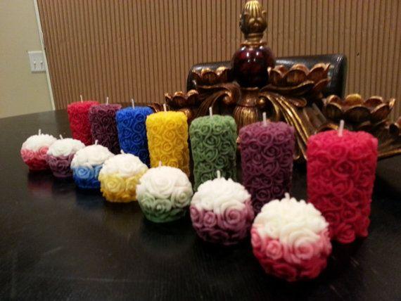 Coppia di candele rosa intagliata a mano di Omaishas su Etsy