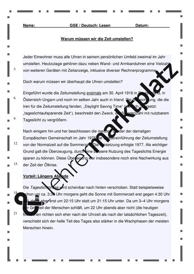 Warum müssen wir die Zeit umstellen? - Textarbeit – Deutsch, D.a.F. / D.a.Z.
