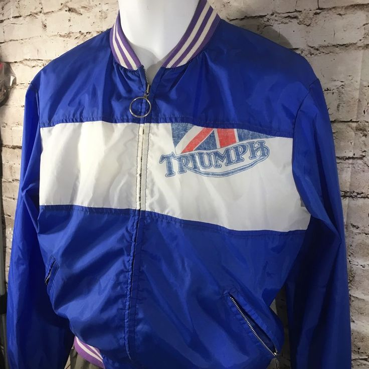True VTG Triumph Motorcycle Nylon Bomber Jacket Windbreaker Sz Large Rockabilly #InteroceanMercantileCompany #BasicJacket