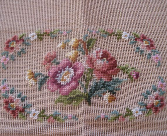 Vintage pre-worked needlepoint. Floral by LegacyTextileCrafts