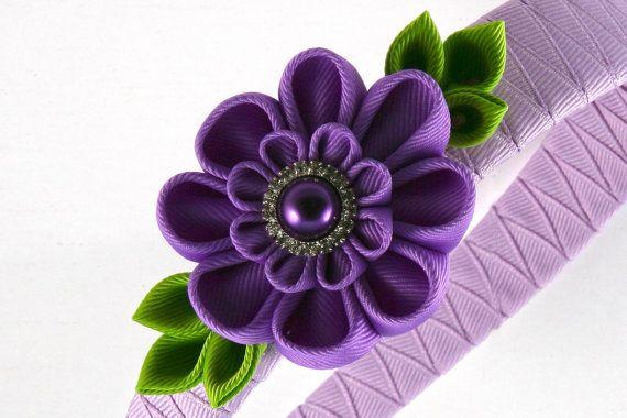 Diadema de flores de cinta. Plantilla de flor por KanzashiPetals