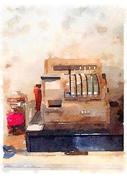 Arte de la impresion - DW, viejo, caja registradora k39829082 - posters, impresiones en lienzos, decoracion de muros, murales - k39829082.jpg