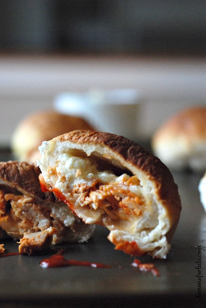 Sriaracha Chicken Bundles Recipe ~ stuffed with Sriracha coated chicken, Jack cheese and cream cheese all hidden inside a Pillsbury Grands Biscuit!