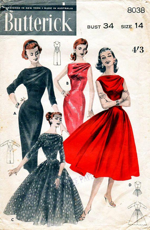 Vestido de noche de la década de 1950 con el por BessieAndMaive
