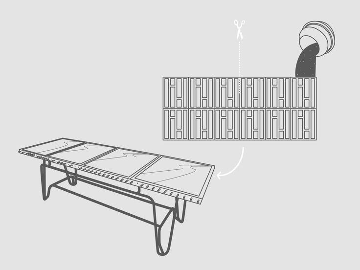 CASSERI – TAVOLO NEON  La cassaforma risale all'inizio della storia edilizia della nostra civiltà e nasce per contenere le gettate di calcestruzzo fino al momento in cui solidificano, quindi vengono rimosse e depositate in attesa di un nuovo utilizzo. Da strumento per la creazione di strutture esterne eccole trasformate in elemento di design per l'arredo d'interni.