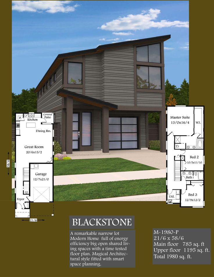 A remarkable narrow lot two story small modern house plan