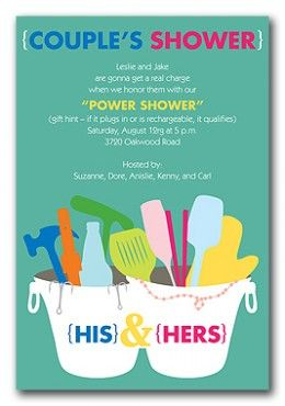 Cute couples shower invite - Corey went to one of these with me a few years ago... and I see one of these in our future..