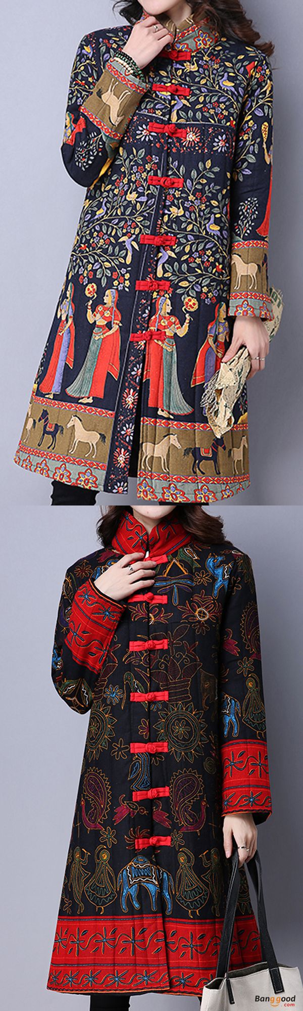 US$44.89+Free shipping. Size: S~2XL. Material: Cotton, Polyester. Home or out, love this sexy and casual coat. Gracila Vintage Women Chinese Frog Stand Collar Printed Long Sleeve Coats.