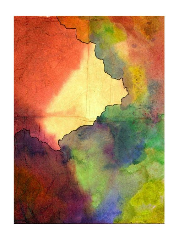 Fine Art Print 5x7 Abstract Watercolor Painting Muted