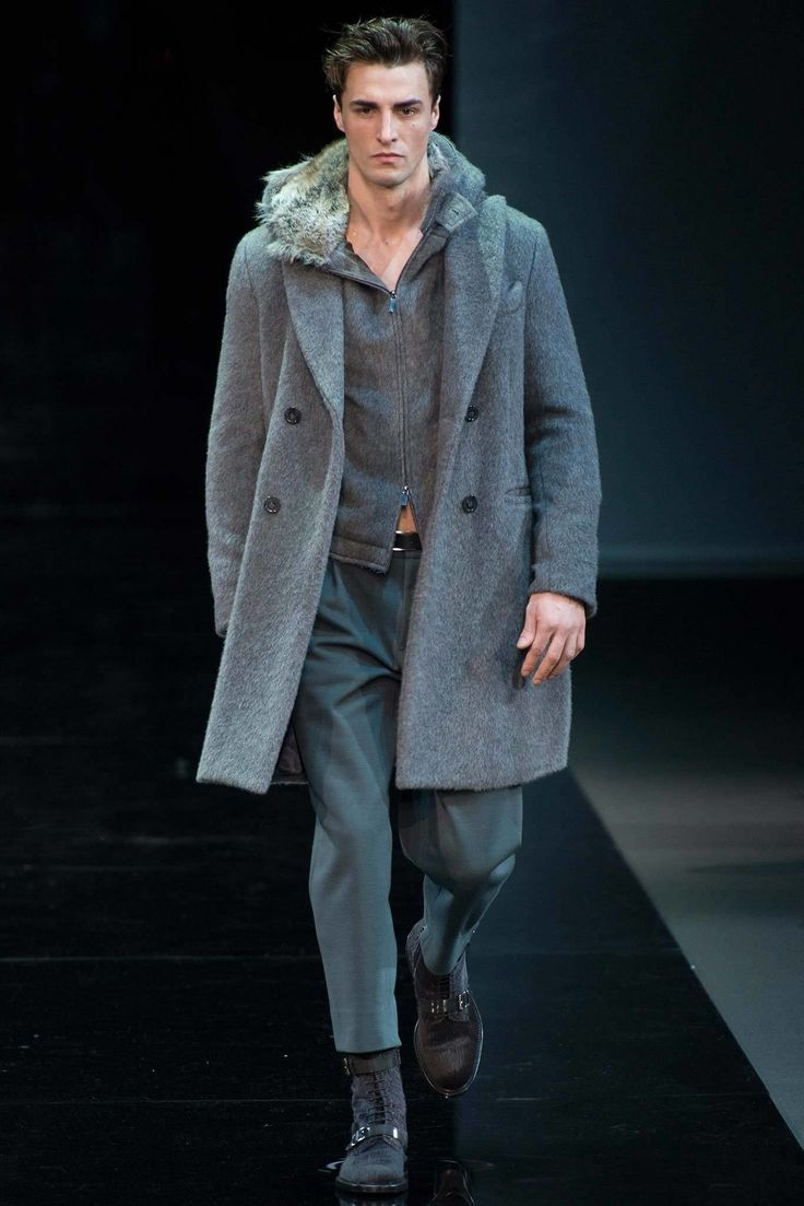 Emporio Armani Fall / Winter 2014 - Man in Coat with Fur Hat