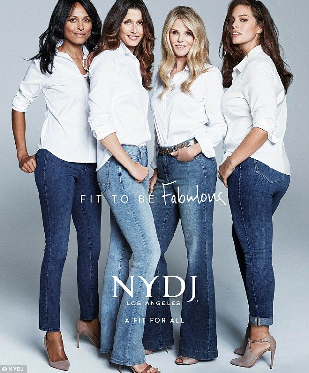 Star power: Lana Ogilvie (left),Bridget Moynahan (second from left), Christie Brinkley (second from right), and Ashley Graham (right) all star in NYDJ's new campaign