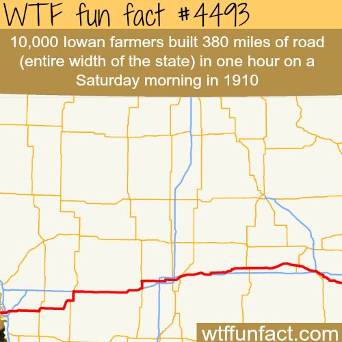 10,000 Iowan farmers make a 300+ mile of highway in one hour - WTF fun facts