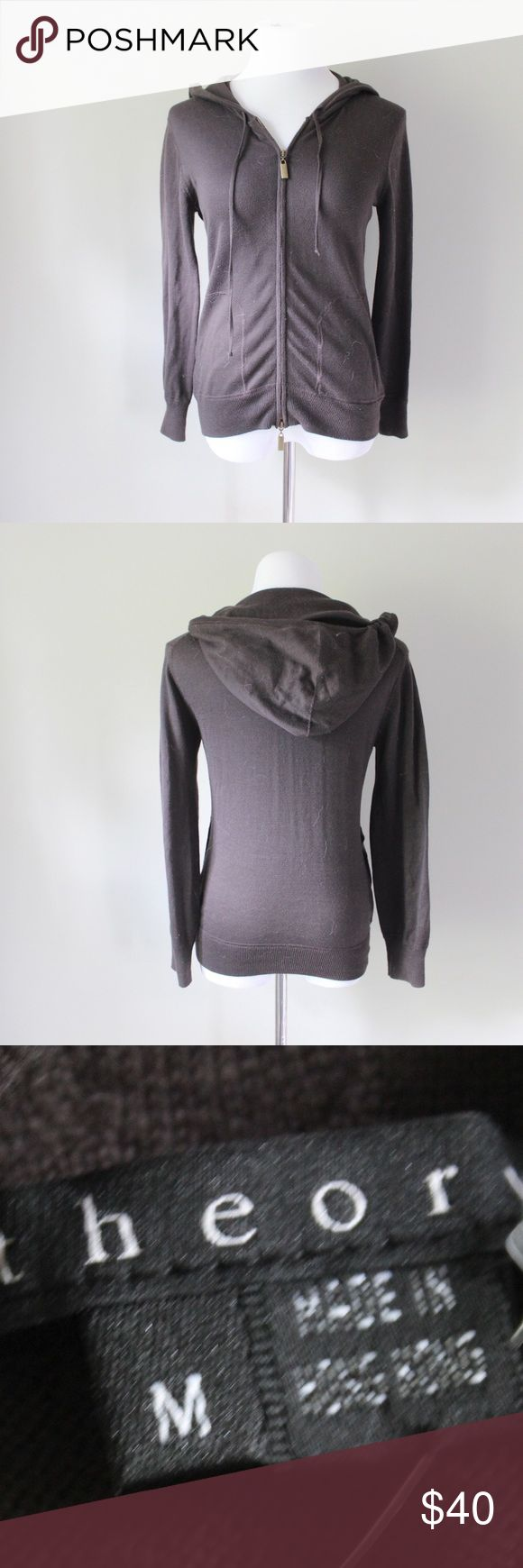 Theory Zip Up Hoodie Theory brown zip up hoodie.  Fits true to size. Shown on a size 4/6 mannequin. In gently used good condition. Measurements available upon request. All orders ship same or next business day! Theory Sweaters