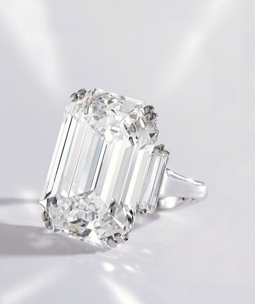 Evelyn Lauder's diamond ring, 22.16 carats, potentially flawless. Graff. Sold by Sotheby's New York December 2012; Proceeds went to The Breast Cancer Research Foundation that Mrs. Lauder founded in 1993.