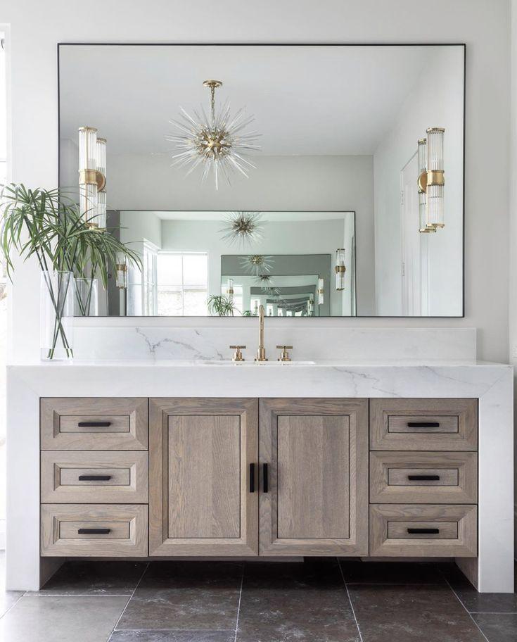 Hello Thick Quartz Waterfall Bathroom Counter Beautiful Washed Wood Cabinet Too Bathroom Interior Design Bathroom Interior Bathroom Design