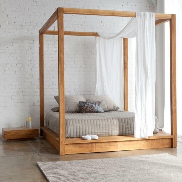 lit baldaquin design en bois