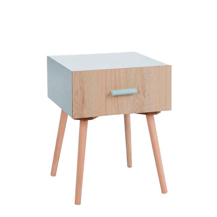 Mesa AuxiliarAqua Mesa auxiliar con cajón modelo Aqua en madera con acabado Natural con altura de 50,8cm, 36,5 xm de largo y 40 cm de ancho.