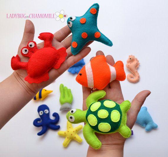 Felt magnet SEA CREATURES fridge magnets by LadybugOnChamomile