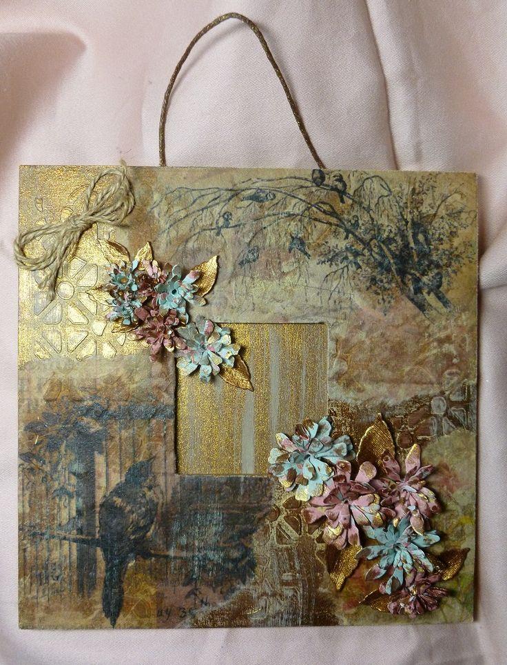 'A Nightingale Sang...' MDF Wall Hanging.   Imagination Craft's-  MDF Frame Kit.  Rice/mulberry paper no. 073.   Stencil.  Magi-bond glue.  Topaz Starlight paint.  MDF Cream paint.  Stencil Medium - white.  Metal spatula.  Sizzix flower dies.  Brayer.  January 2016.