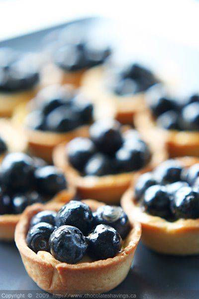 Chocolate Shavings: Mini Blueberry Tartelettes. (Great basic tart recipe, but FYI - measures in grams, not cups.)