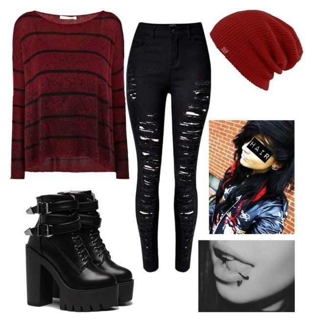 #emo #outfit #black #red