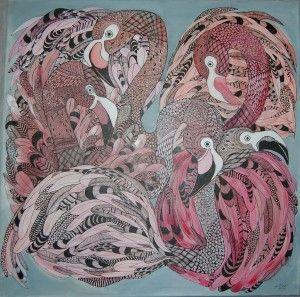 Flamingo 2016. Anna Strøm .Original painting , size 80 cm X 80 cm canvas, acrylic, black ink 600 EURO http://www.design-of-norway.no/