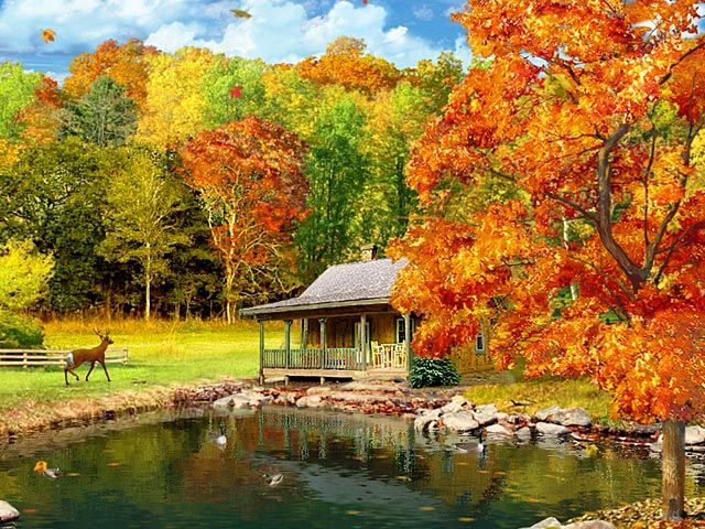 autumn cabin wallpaper desktop - photo #16