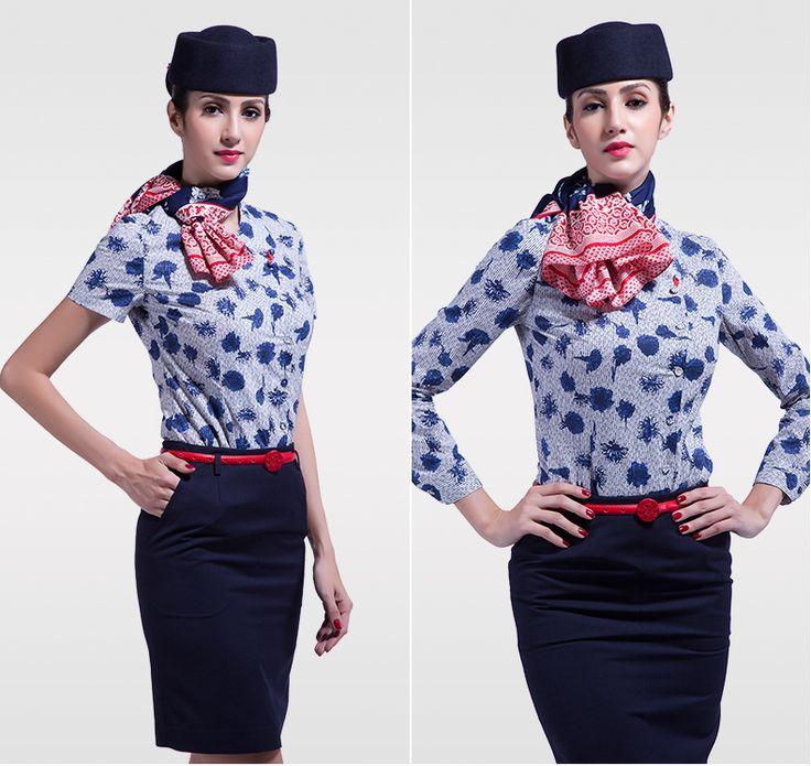 Golden Jiayi stewardess uniformen carrière past bij de lente en de zomer blauwe en witte shirt met lange mouwen jurk vrouwen Slim dunne -tmall.com Lynx