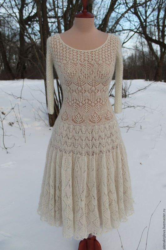Платья ручной работы. Ярмарка Мастеров - ручная работа. Купить Ажурное платье из мохера. Handmade. Молочный цвет, платье спицами