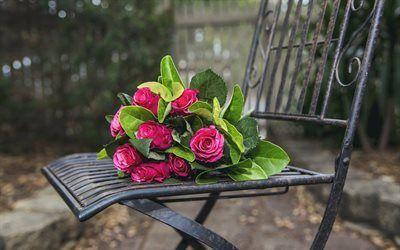 Scarica sfondi bellissimi fiori, panca in ferro battuto, rose, rose rosa, cowan negozio, bouquet gratuito, un mazzo di rose