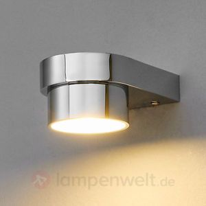 Spectacular LED Wandlampe Nikola Chrom Badezimmer Bad Wandleuchte Lampenwelt Spiegelleuchte