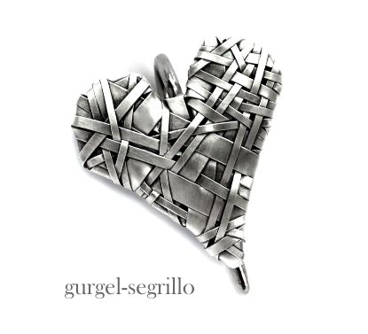 woven heart series of art jewellery - celebrating Love and our interconnectedness by Irish-Brazilian artist Gurgel-Segrillo https://shop.gurgel-segrillo.com/collections/woven-hearts-series