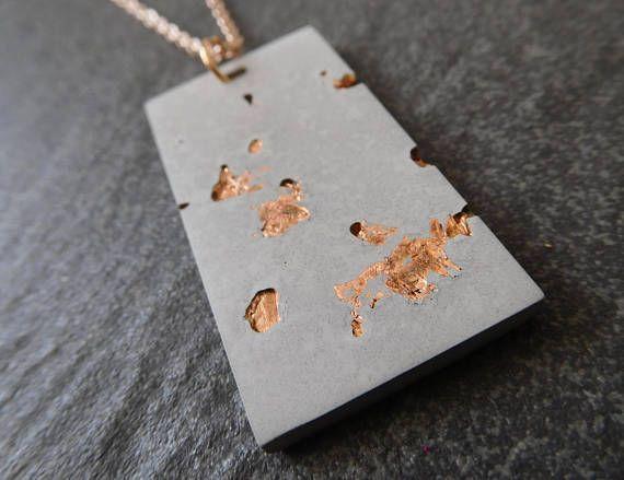 Minimalist jewelry  geometric necklace  concrete necklace