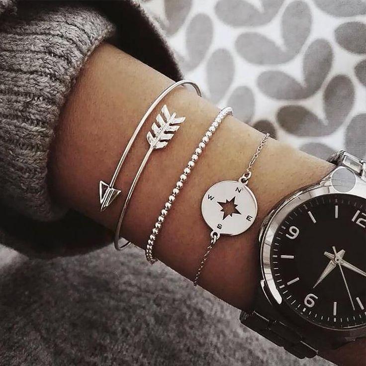 Femme Fashion 3Pcs Argent or or Rose Bracelets Set Strass Bangle Jewe FR