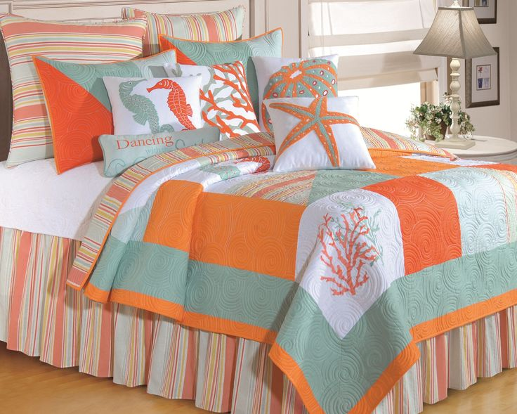 Like having your own Florida Key as an island escape. Fiesta Key is warm and colorful, mixing warm sunset oranges with cool aqua breezes. Quilt is totally reversible to the coordinate stripe, enjoy th