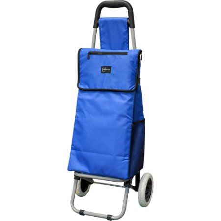 Mainstays 38 inch Insulated Rolling Shopping Cart, Blue