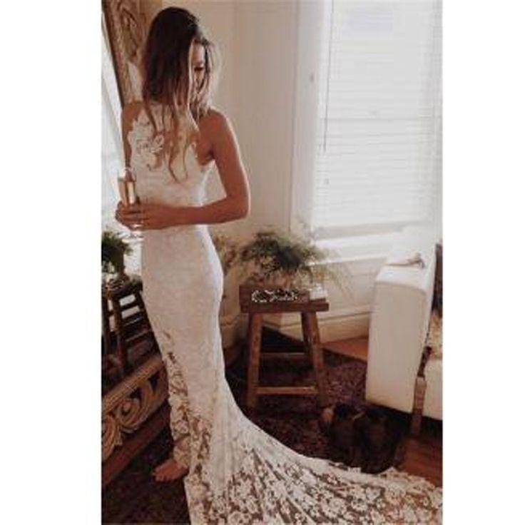High Neck Sheath Lace Summer Wedding Dresses Sleeveless Cheap Bridal Dresses for Beach, WD0024