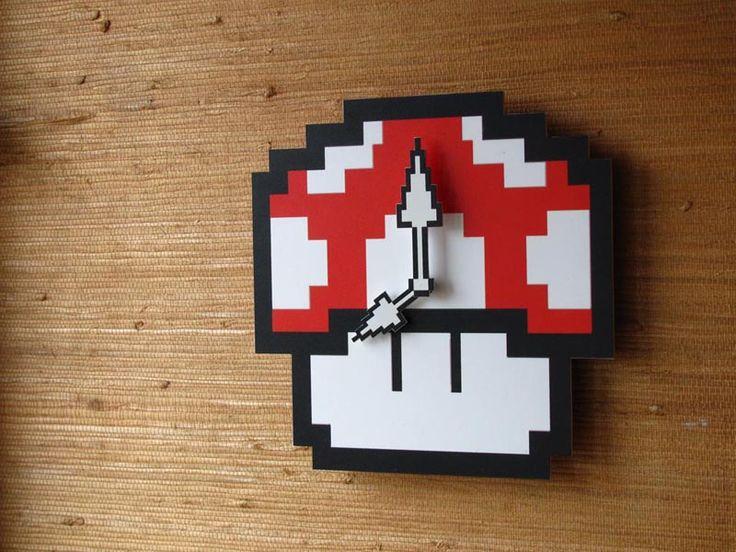 Pixelated Super Mario Mushroom Wall Clock |Gadgetsin