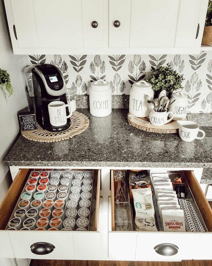 Coffee Station Kitchen, Coffee Bars In Kitchen, Coffee Bar Home, Home Coffee Stations, Office Coffee Station, Coffee Bar Design, Bar Kitchen, Home Decor Kitchen, Home Kitchens